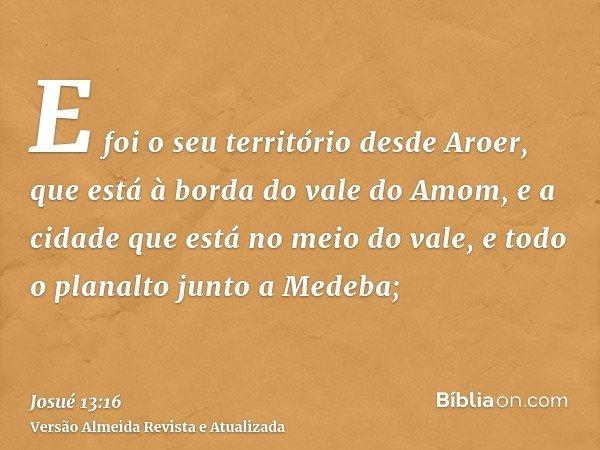 E foi o seu território desde Aroer, que está à borda do vale do Amom, e a cidade que está no meio do vale, e todo o planalto junto a Medeba;