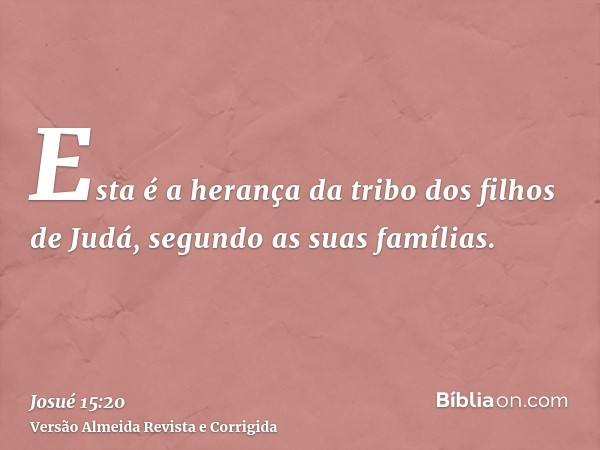 Esta é a herança da tribo dos filhos de Judá, segundo as suas famílias.