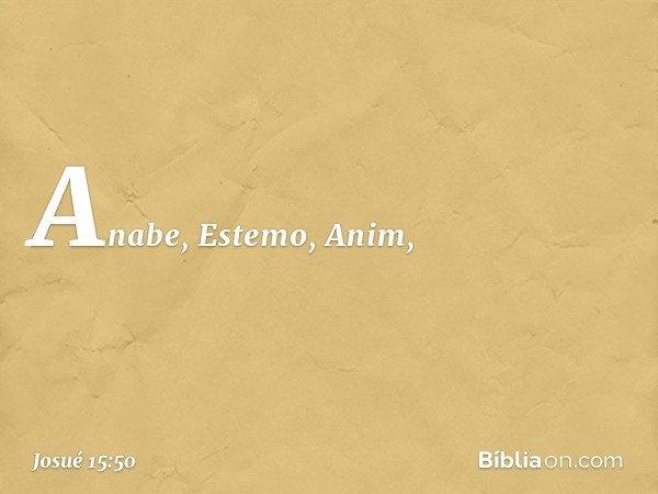 Anabe, Estemo, Anim, -- Josué 15:50
