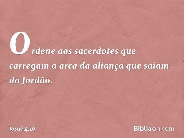 """""""Ordene aos sacerdotes que carregam a arca da aliança que saiam do Jordão"""". -- Josué 4:16"""