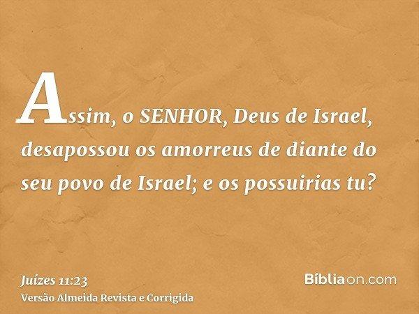 Assim, o SENHOR, Deus de Israel, desapossou os amorreus de diante do seu povo de Israel; e os possuirias tu?