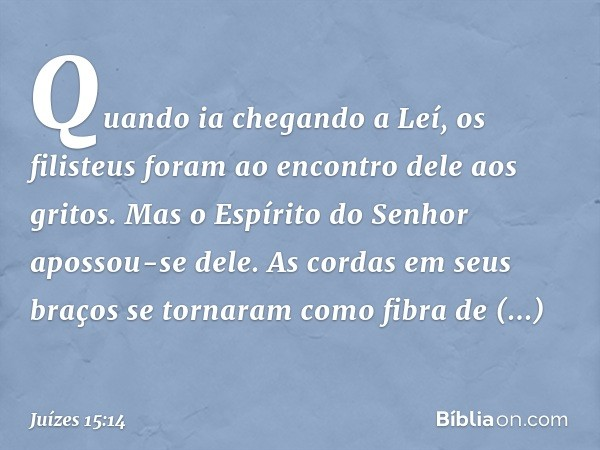 Quando ia chegando a Leí, os filisteus foram ao encontro dele aos gritos. Mas o Espírito do Senhor apossou-se dele. As cordas em seus braços se tornaram como fi