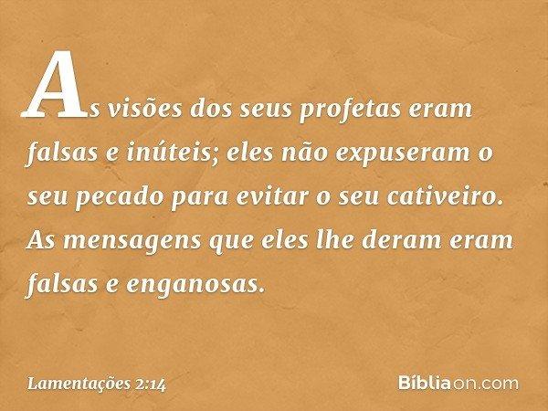As visões dos seus profetas eram falsas e inúteis; eles não expuseram o seu pecado para evitar o seu cativeiro. As mensagens que eles lhe deram eram falsas e en