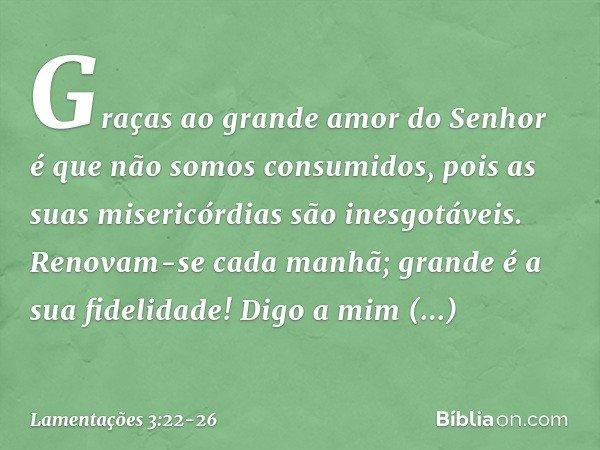 Graças ao grande amor do Senhor é que não somos consumidos, pois as suas misericórdias são inesgotáveis. Renovam-se cada manhã; grande é a sua fidelidade! Digo
