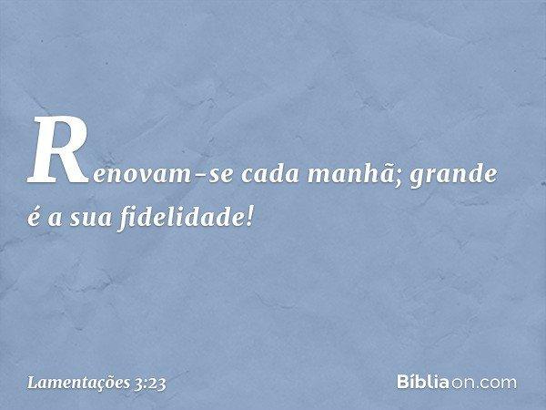 Renovam-se cada manhã; grande é a sua fidelidade! -- Lamentações 3:23