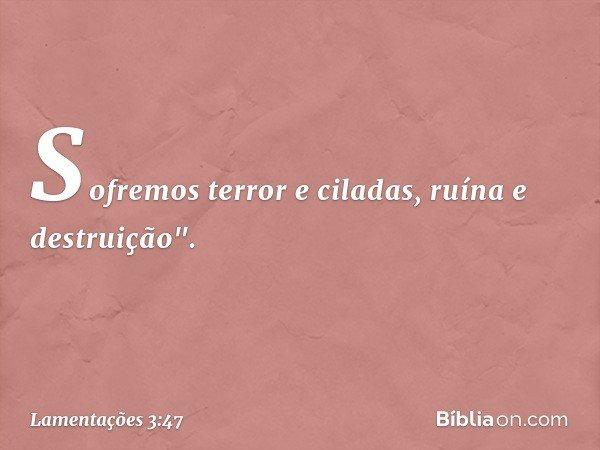 """Sofremos terror e ciladas, ruína e destruição"""". -- Lamentações 3:47"""