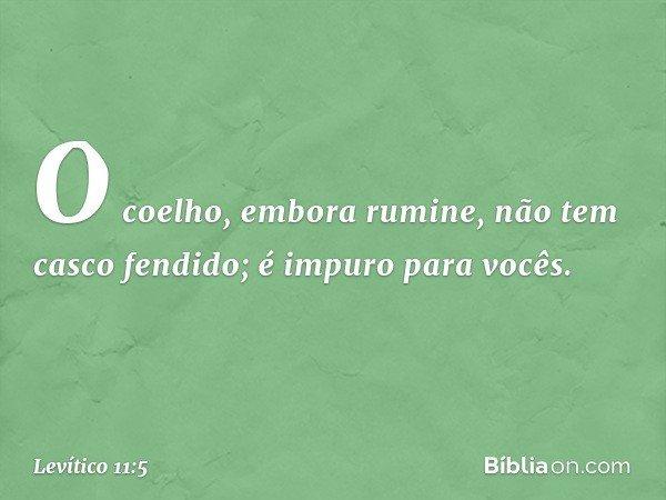 O coelho, embora rumine, não tem casco fendido; é impuro para vocês. -- Levítico 11:5