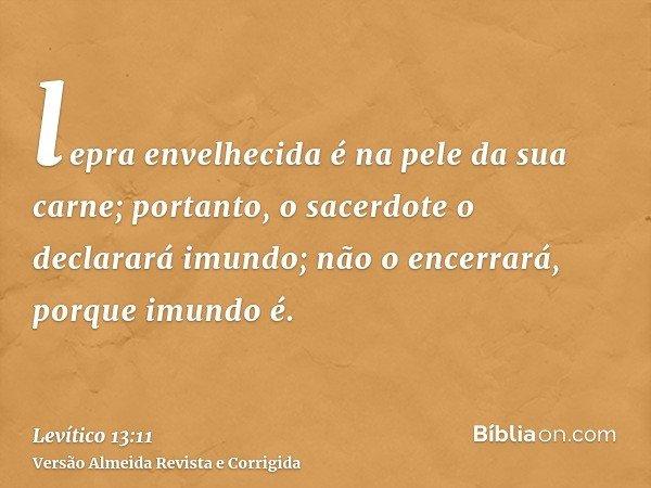 lepra envelhecida é na pele da sua carne; portanto, o sacerdote o declarará imundo; não o encerrará, porque imundo é.