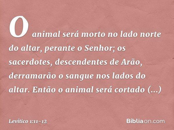 O animal será morto no lado norte do altar, perante o Senhor; os sacerdotes, descendentes de Arão, derramarão o sangue nos lados do altar. Então o animal será