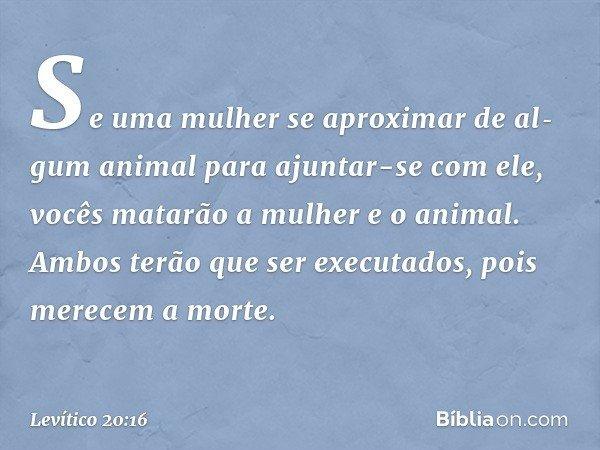 """""""Se uma mulher se aproximar de algum animal para ajuntar-se com ele, vocês matarão a mulher e o animal. Ambos terão que ser executados, pois merecem a morte."""