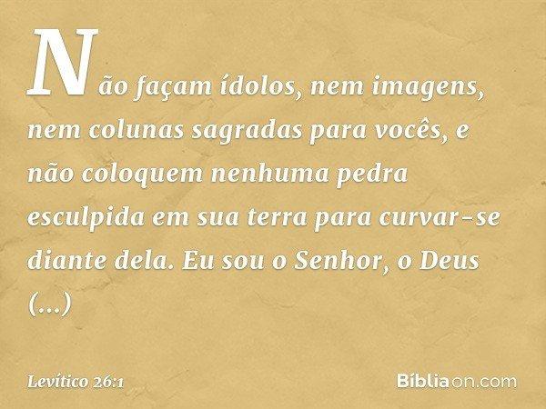 """""""Não façam ídolos, nem imagens, nem colunas sagradas para vocês, e não coloquem nenhuma pedra esculpida em sua terra para curvar-se diante dela. Eu sou o Senho"""