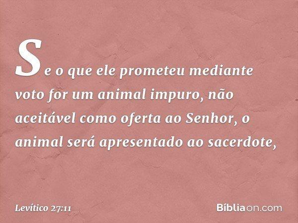 Se o que ele prometeu mediante voto for um animal impuro, não aceitável como oferta ao Senhor, o animal será apresentado ao sacerdote, -- Levítico 27:11