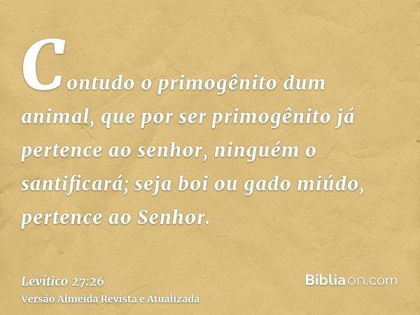 Contudo o primogênito dum animal, que por ser primogênito já pertence ao senhor, ninguém o santificará; seja boi ou gado miúdo, pertence ao Senhor.