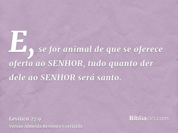 E, se for animal de que se oferece oferta ao SENHOR, tudo quanto der dele ao SENHOR será santo.