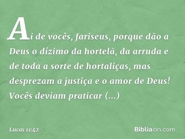 """""""Ai de vocês, fariseus, porque dão a Deus o dízimo da hortelã, da arruda e de toda a sorte de hortaliças, mas desprezam a justiça e o amor de Deus! Vocês deviam"""