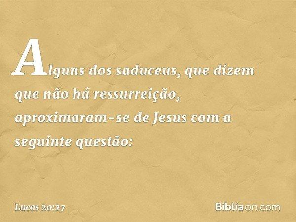 Alguns dos saduceus, que dizem que não há ressurreição, aproximaram-se de Jesus com a seguinte questão: -- Lucas 20:27