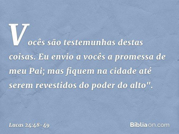 """Vocês são testemunhas destas coisas. Eu envio a vocês a promessa de meu Pai; mas fiquem na cidade até serem revestidos do poder do alto"""". -- Lucas 24:48-49"""