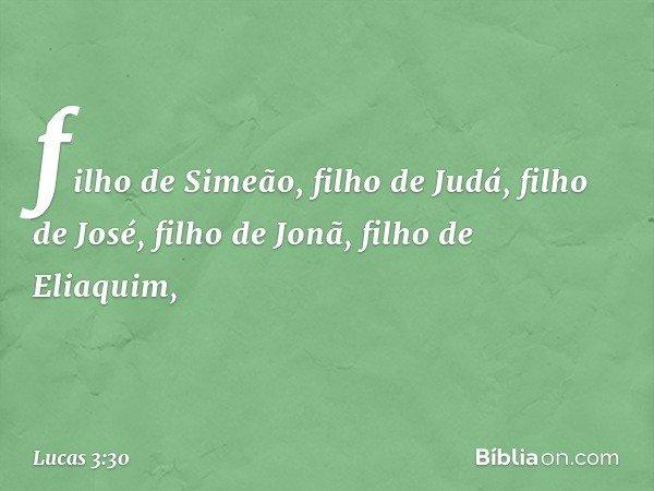 filho de Simeão, filho de Judá, filho de José, filho de Jonã, filho de Eliaquim, -- Lucas 3:30