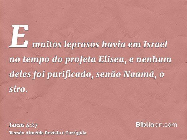 E muitos leprosos havia em Israel no tempo do profeta Eliseu, e nenhum deles foi purificado, senão Naamã, o siro.
