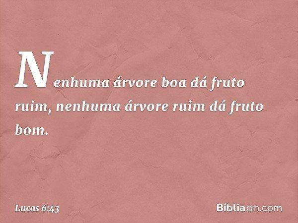 """""""Nenhuma árvore boa dá fruto ruim, nenhuma árvore ruim dá fruto bom. -- Lucas 6:43"""
