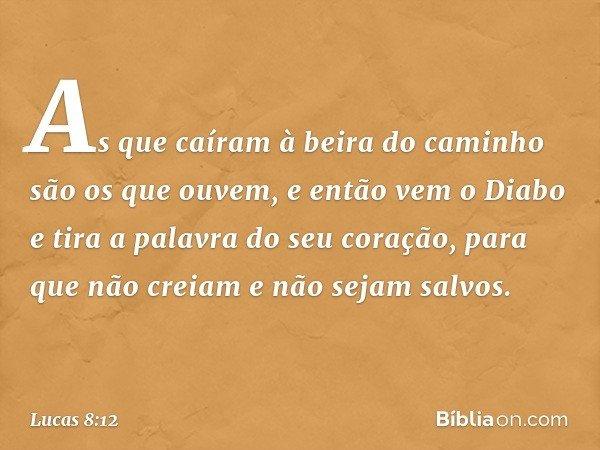 As que caíram à beira do caminho são os que ouvem, e então vem o Diabo e tira a palavra do seu coração, para que não creiam e não sejam salvos. -- Lucas 8:12