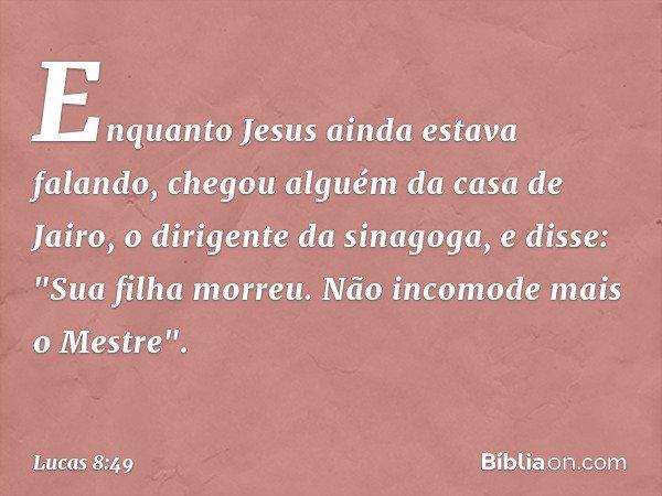 Enquanto Jesus ainda estava falando, chegou alguém da casa de Jairo, o dirigente da sinagoga, e disse: