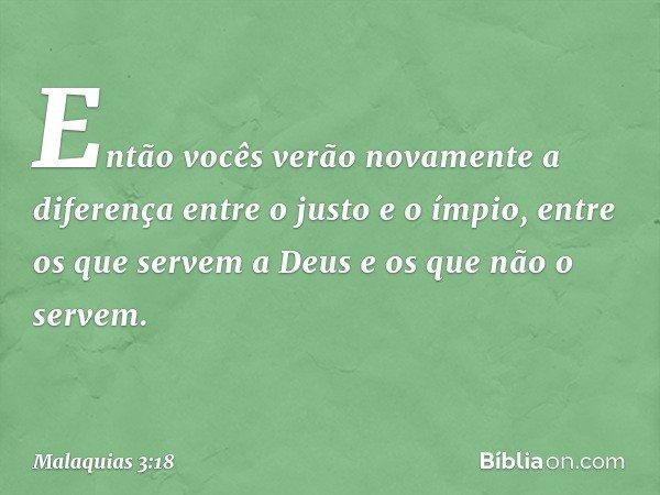 Então vocês verão novamente a diferença entre o justo e o ímpio, entre os que servem a Deus e os que não o servem. -- Malaquias 3:18