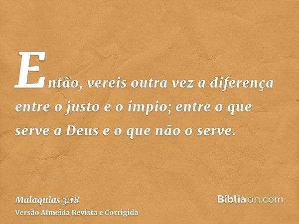 Então, vereis outra vez a diferença entre o justo e o ímpio; entre o que serve a Deus e o que não o serve.