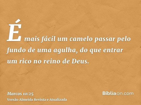 É mais fácil um camelo passar pelo fundo de uma agulha, do que entrar um rico no reino de Deus.