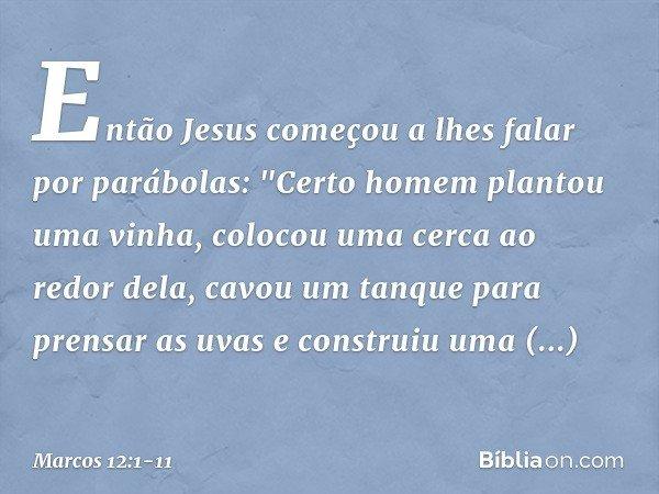 """Então Jesus começou a lhes falar por parábolas: """"Certo homem plantou uma vinha, colocou uma cerca ao redor dela, cavou um tanque para prensar as uvas e construi"""