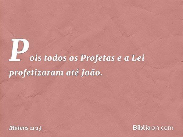 Pois todos os Profetas e a Lei profetizaram até João. -- Mateus 11:13