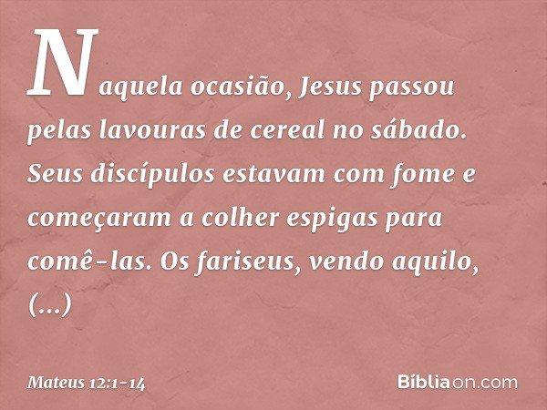 Naquela ocasião, Jesus passou pelas lavouras de cereal no sábado. Seus discípulos estavam com fome e começaram a colher espigas para comê-las. Os fariseus, vend
