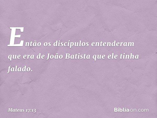 Então os discípulos entenderam que era de João Batista que ele tinha falado. -- Mateus 17:13