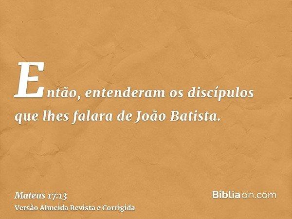 Então, entenderam os discípulos que lhes falara de João Batista.