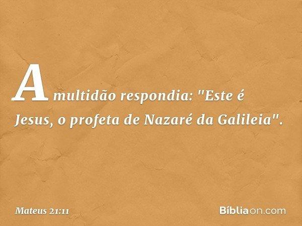 """A multidão respondia: """"Este é Jesus, o profeta de Nazaré da Galileia"""". -- Mateus 21:11"""