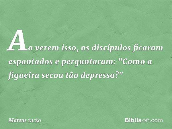 """Ao verem isso, os discípulos ficaram espantados e perguntaram: """"Como a figueira secou tão depressa?"""" -- Mateus 21:20"""