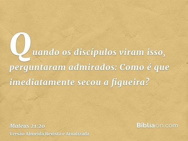 Quando os discípulos viram isso, perguntaram admirados: Como é que imediatamente secou a figueira?