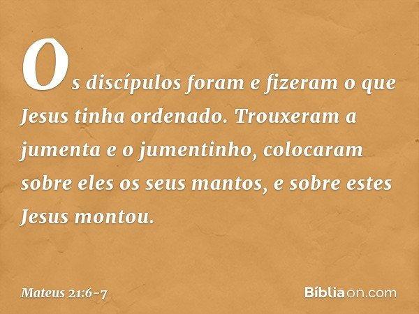 Os discípulos foram e fizeram o que Jesus tinha ordenado. Trouxeram a jumenta e o jumentinho, colocaram sobre eles os seus mantos, e sobre estes Jesus montou. -