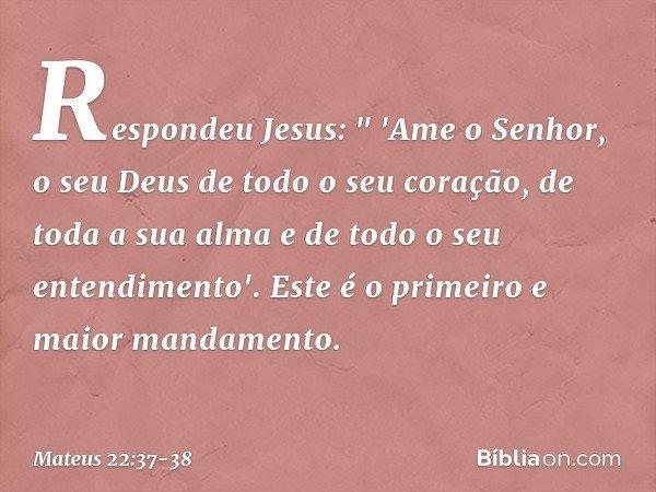 """Respondeu Jesus: """" 'Ame o Senhor, o seu Deus de todo o seu coração, de toda a sua alma e de todo o seu entendimento'. Este é o primeiro e maior mandamento. -- M"""