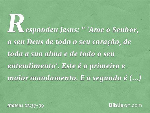 """Respondeu Jesus: """" 'Ame o Senhor, o seu Deus de todo o seu coração, de toda a sua alma e de todo o seu entendimento'. Este é o primeiro e maior mandamento. E o"""