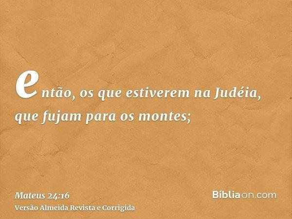então, os que estiverem na Judéia, que fujam para os montes;
