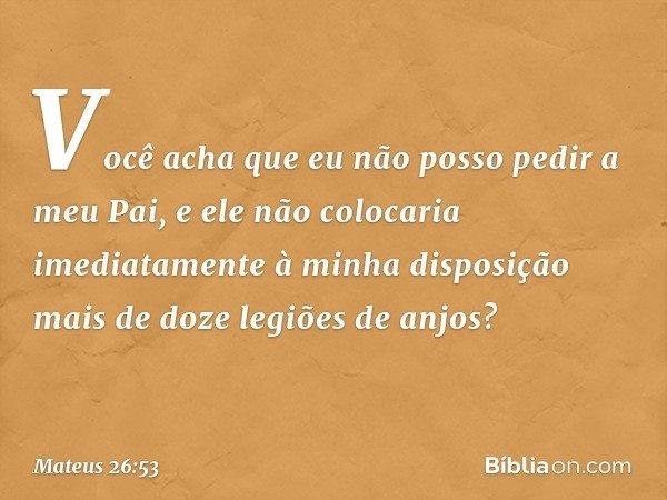 Você acha que eu não posso pedir a meu Pai, e ele não colocaria imediatamente à minha disposição mais de doze legiões de anjos? -- Mateus 26:53