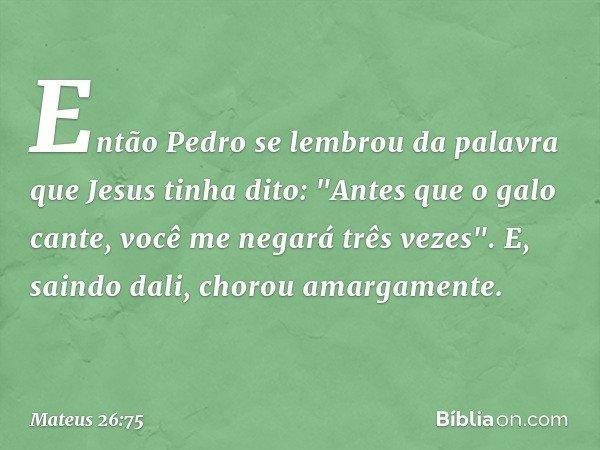 """Então Pedro se lembrou da palavra que Jesus tinha dito: """"Antes que o galo cante, você me negará três vezes"""". E, saindo dali, chorou amargamente. -- Mateus 26:75"""