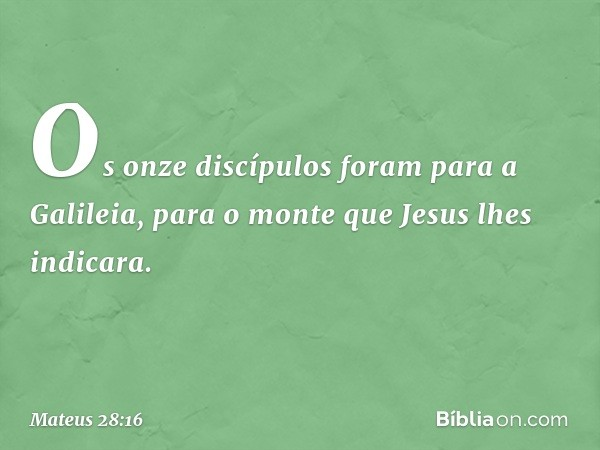 Os onze discípulos foram para a Galileia, para o monte que Jesus lhes indicara. -- Mateus 28:16
