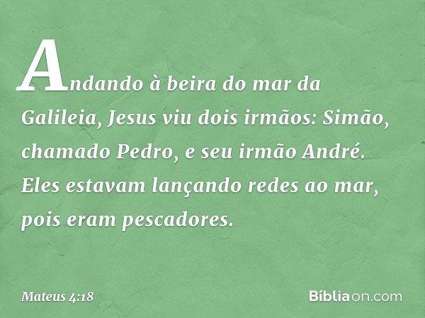 Andando à beira do mar da Galileia, Jesus viu dois irmãos: Simão, chamado Pedro, e seu irmão André. Eles estavam lançando redes ao mar, pois eram pescadores. --