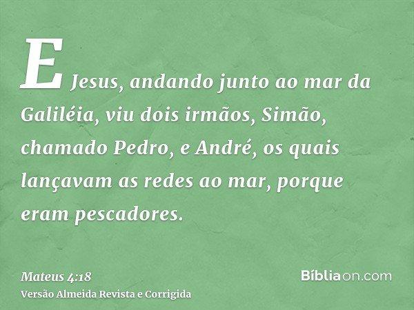 E Jesus, andando junto ao mar da Galiléia, viu dois irmãos, Simão, chamado Pedro, e André, os quais lançavam as redes ao mar, porque eram pescadores.