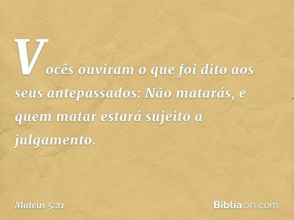 """""""Vocês ouviram o que foi dito aos seus antepassados: 'Não matarás', e 'quem matar estará sujeito a julgamento'. -- Mateus 5:21"""