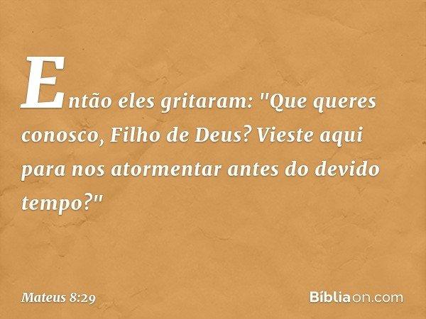 """Então eles gritaram: """"Que queres conosco, Filho de Deus? Vieste aqui para nos atormentar antes do devido tempo?"""" -- Mateus 8:29"""