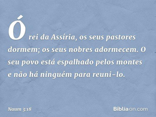 Ó rei da Assíria, os seus pastores dormem; os seus nobres adormecem. O seu povo está espalhado pelos montes e não há ninguém para reuni-lo. -- Naum 3:18