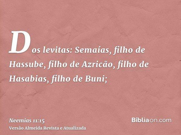 Dos levitas: Semaías, filho de Hassube, filho de Azricão, filho de Hasabias, filho de Buni;